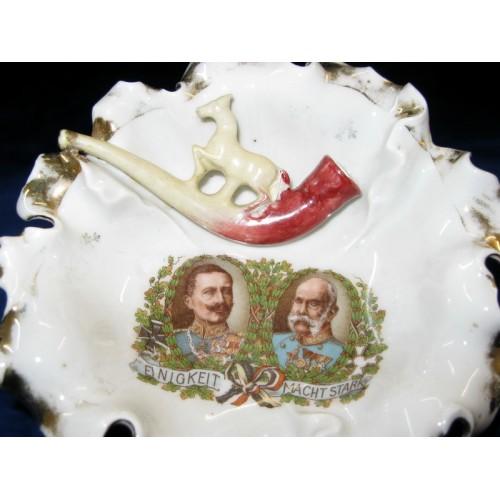 Patriotischer Aschenbecher Wilhelm II u. Franz Josef I.