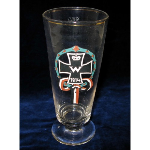 1. Weltkrieg Patriotisches Trinkglas, Eisernes Kreuz 1914