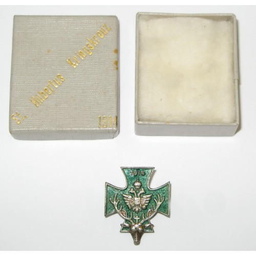 Offizielles St. Hubertus - Kriegskreuz 1914 in originaler Schachtel