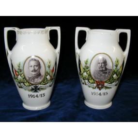 Patriotisches Vasen-Paar Wilhelm II und Franz Josef I. 1914/15