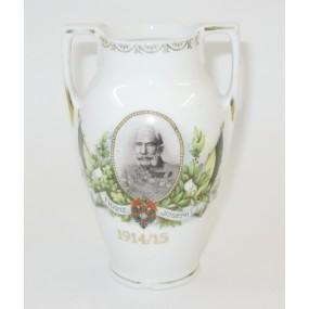 1. Weltkrieg Patriotische Vase, Kaiser Franz Josef I. 1914/15