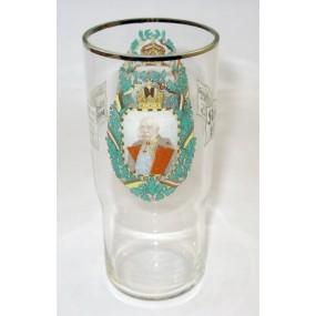 1. Weltkrieg Patriotisches Trinkglas mit den vier verbündeten Monarchen