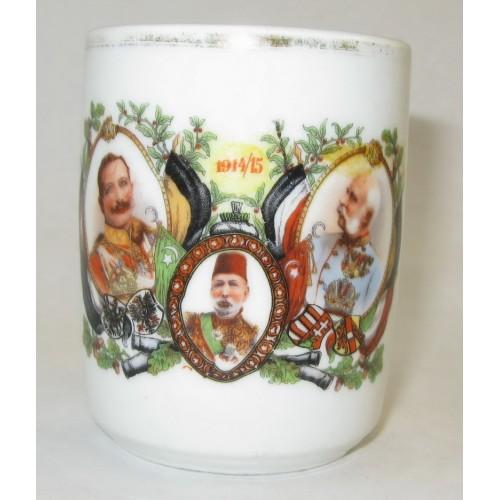 Patriotisches Heferl/Tasse mit den drei verbündeten Monarchen