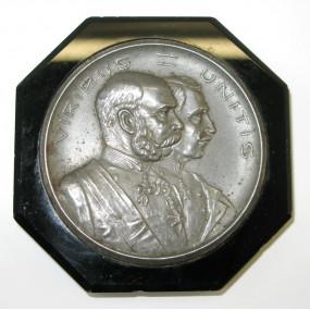 Patriotischer Briefbeschwerer Kaiser Franz Josef I. und Kaiser Wilhelm II. VIRIBUS UNITIS