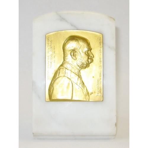 Bronzeplakette mit dem Porträt des Kaisers Franz Joseph I.