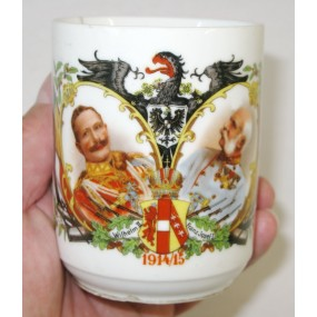 1. Weltkrieg Patriotisches Heferl/Tasse, Kaiser Franz Josef I. und Kaiser Wilhelm II. 1914/15