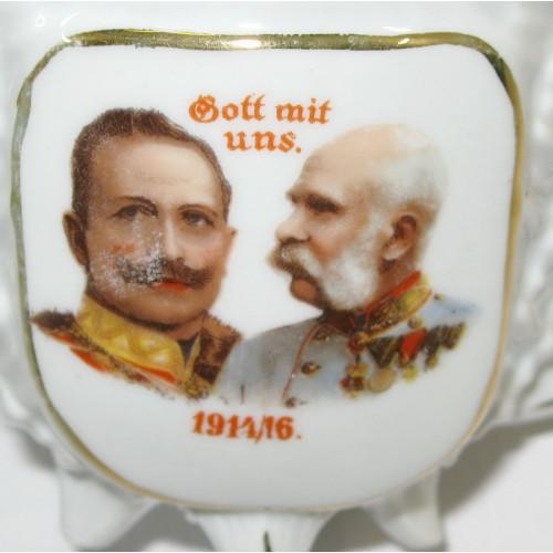 1. Weltkrieg Patriotisches Porzellan-Heferl mit Untertasse, Gott mit uns 1914/16