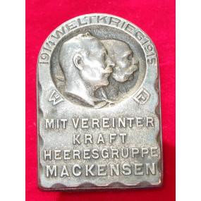 Echt Silbernes Kappenabzeichen, HEERESGRUPPE MACKENSEN WELTKRIEG 1914-15 !!!SILBER!!!