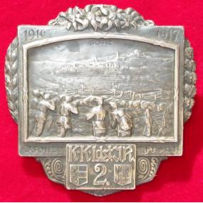 Echt Silbernes Kappenabzeichen, K.K. Ldst.J.R.2 Isonzo Front 1916-17 !!!SILBER!!!