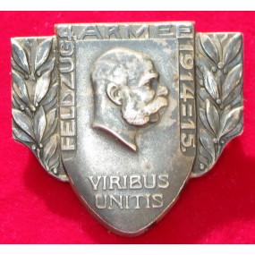 Echt Silbernes Kappenabzeichen, 4. ARMEE FELDZUG 1914-15 !!!SILBER!!!