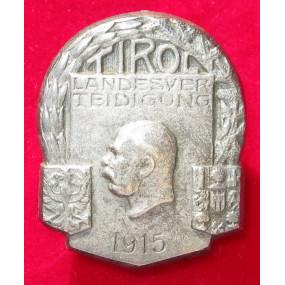 Echt Silbernes Kappenabzeichen, TIROL LANDESVERTEIDIGUNG 1915!!!SILBER!!!