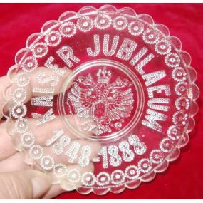 Kaiser Franz Josef I. Patriotische Glasschale KAISER JUBILÄUM 1848-1888