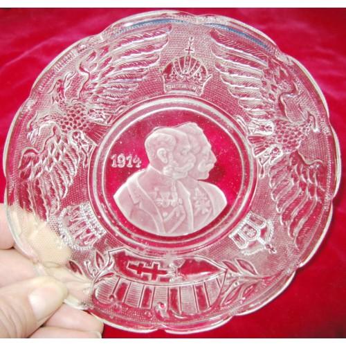Patriotische Glasschale Kaiser Franz Josef I. und Kaiser Wilhelm II. 1914