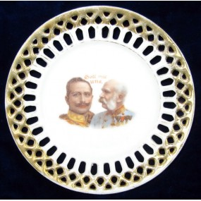Patriotischer Durchbruchteller, Kaiser Franz Josef I. und Kaiser Wilhelm II. Gott mit uns