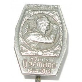 Echt Silbernes Kappenabzeichen, KARPATHEN KORPS HOFMANN 1914-1915 !!!SILBER!!!