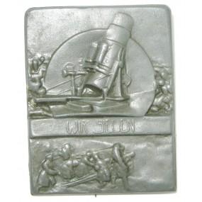 k. u. k. Kappenabzeichen, 30,5 cm Schwerer SKODA-MÖRSER - WIR SIEGEN