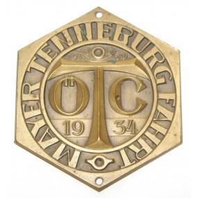 Plakette, Ö. T. C. Mayer - Tenneburg Fahrt 1934