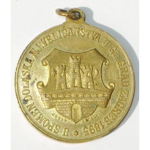Medaille zur Erinnerung an die Ankunft seiner Majestät in der Hauptstadt von Zagreb 1895