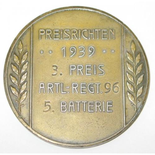 Medaille, 1939 Preisrichten 3. Preis Artillerie Regiment 96, 5. Batterie