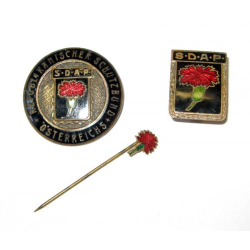 3 Republikanische Schutzbund Abzeichen