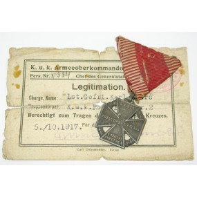 Legitimation Karl Truppen Kreuz k. u. k. Pion. Baon. Nr. 2