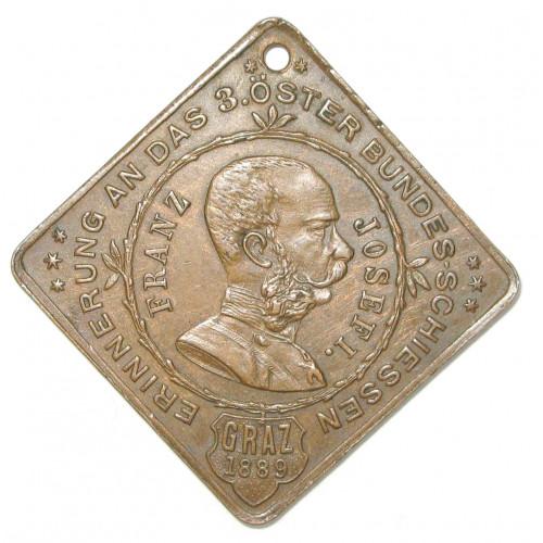 Schützenmedaille, 3. Österreichisches Bundesschießen in Graz 11. August 1889