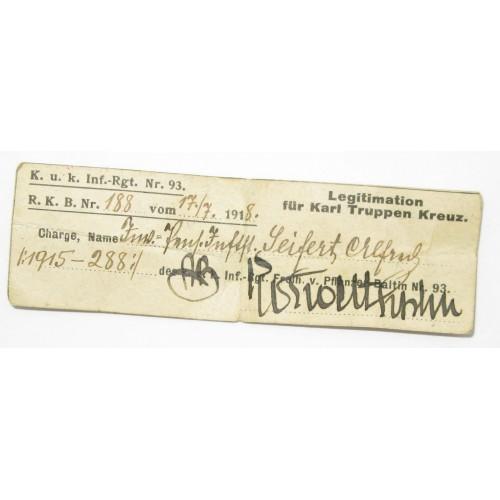 Österreich / K.u.K. Monarchie, Karl Truppenkreuz mit Legitimation k.u.k. Inf.-Rgt. Nr. 93