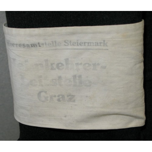 Mantel mit Armschleife, Heeresamtstelle Steiermark Heimkehrer Leitstelle Graz